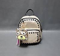 Мини рюкзак для девочки с брелком цвет беж