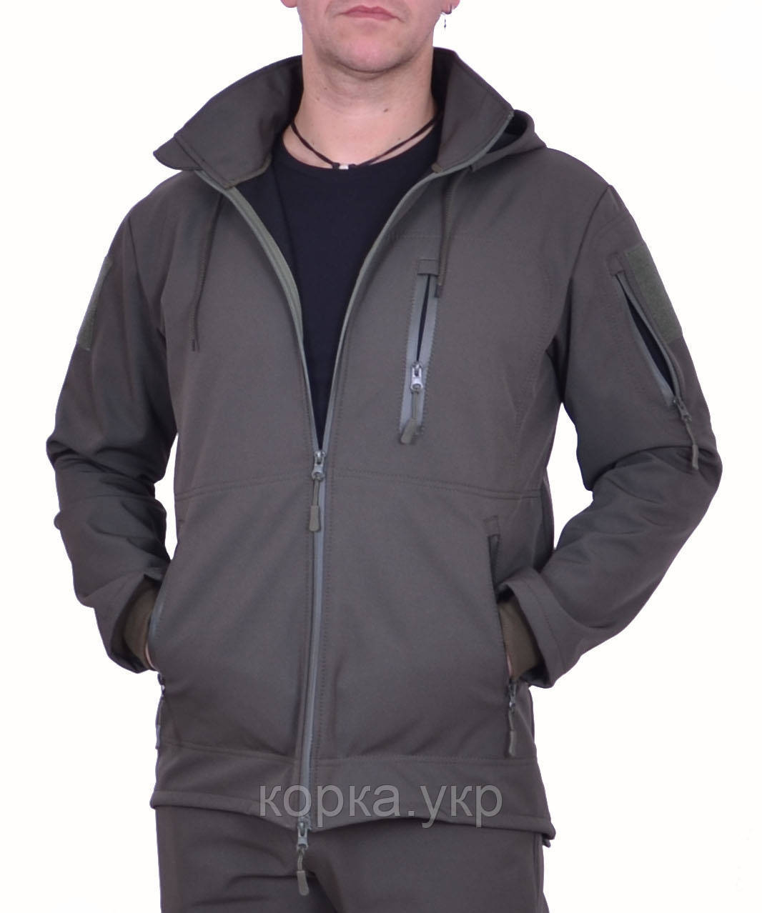 Куртка SOFT SHELL Хаки с боковыми молниями под кобуру