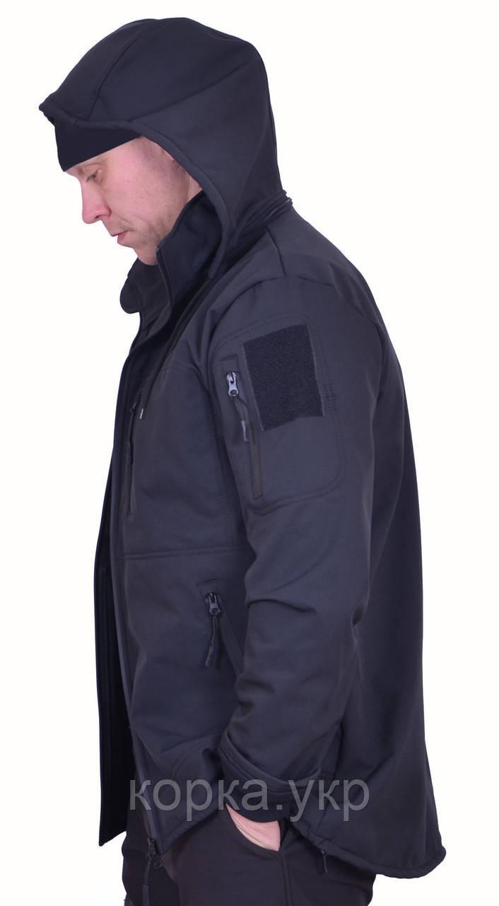 Куртка SOFT SHELL Черная с боковыми молниями под кобуру