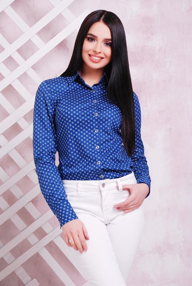 aab2205b242 Классическая женская коттоновая рубашка с длинным рукавом синяя ...