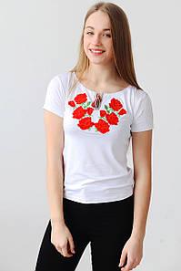 Вишита жіноча футболка Троянди А-13