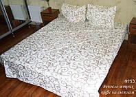 Полуторное постельное белье бязь gold - Вензель штрих на белом