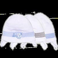 Детская вязаная шапочка на завязках, ТМ Мамина мода, р.38, 40, 42, 44, Украина