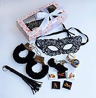 """Эротический набор с наручниками , плеткой и маской  """"Black passion set"""" (Черная страсть)"""