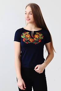 Жіноча вишита футболка Петриківський розпис А-16