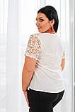 Красивая женская блуза без рукав с кружевом 4 расцв. 42-56р, фото 10