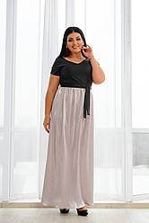 Нарядное длинное платье с блестящим напылением