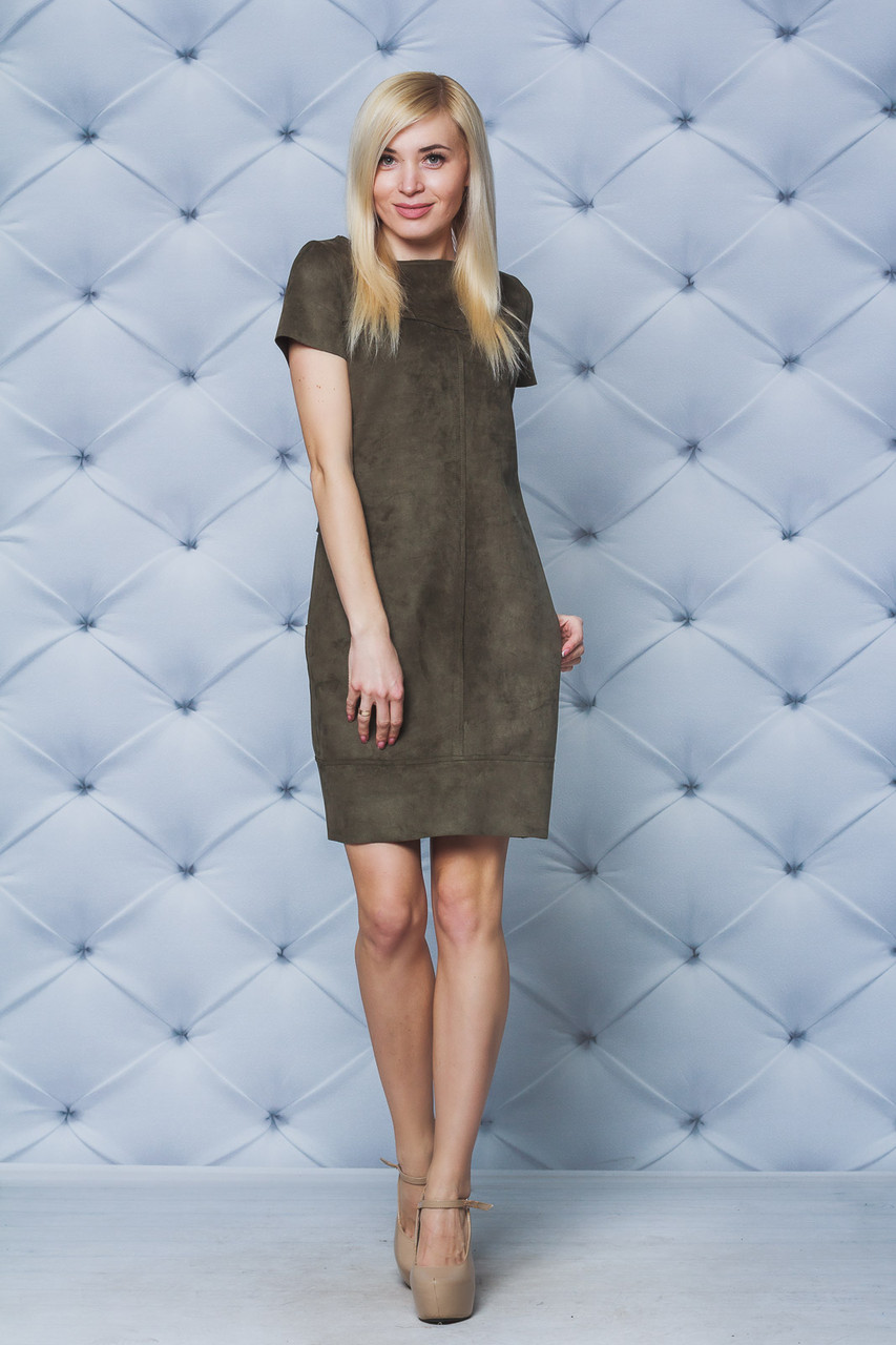 Женское короткое платья замш олива