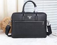 Мужская деловая кожаная сумка в стиле Prada (8027) leather De Lux