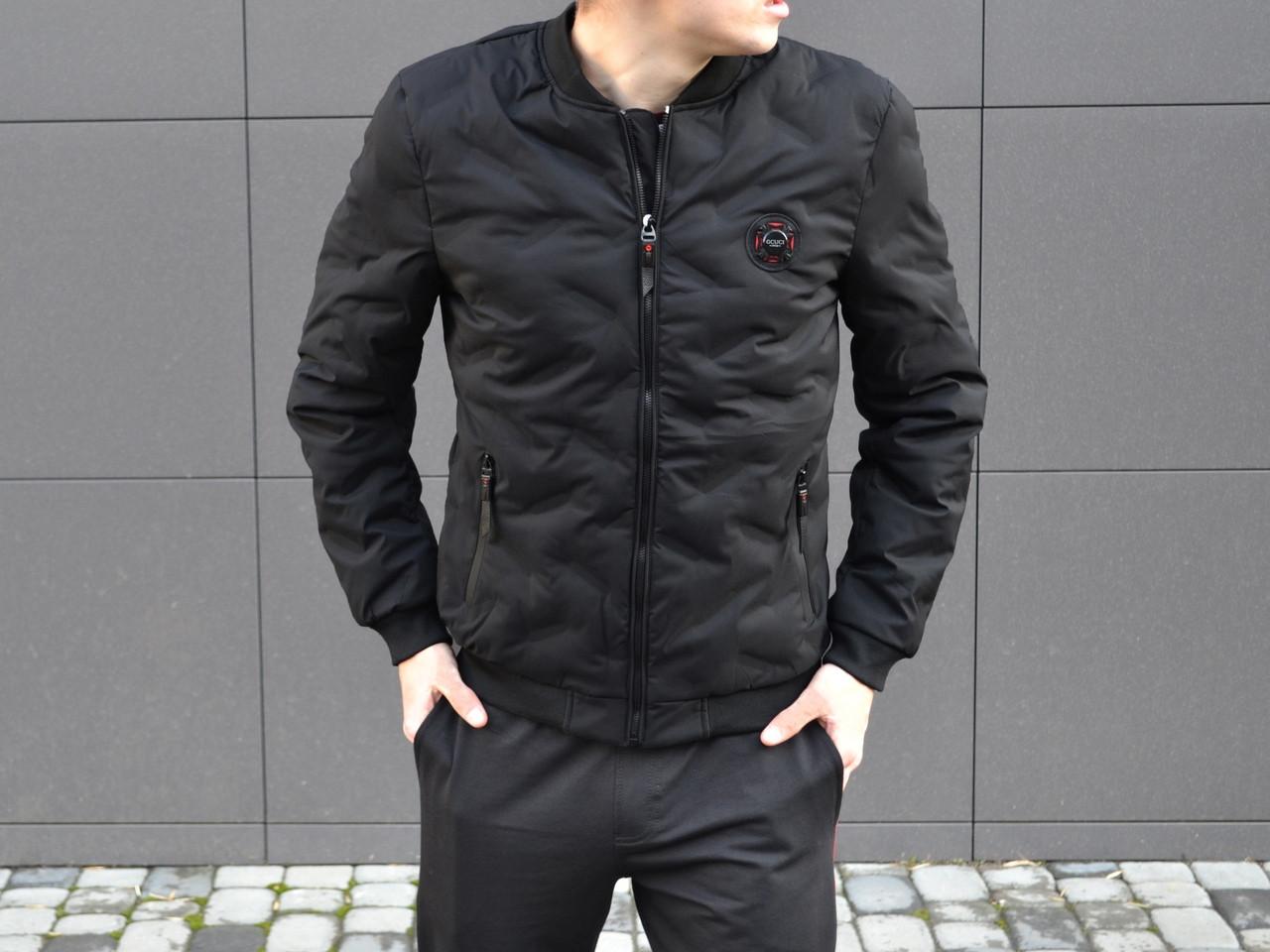 Куртка бомбер мужской черная Gcuci. Живое фото (весенняя куртка)