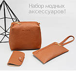 Трендовая женская сумка JingPin 4 в 1 Розовая (сумка + клатч + кошелёк косметичка + визитница) AB-3, фото 3