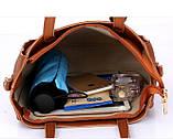 Трендовая женская сумка JingPin 4 в 1 Розовая (сумка + клатч + кошелёк косметичка + визитница) AB-3, фото 4