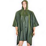 Дождевик однотонный, плащ-палатка с капюшоном, дождевик водонепроницаемый походный, размер 165 х 275 см, фото 7