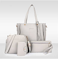 0739ec3b937d Трендовая женская сумка JingPin 4 в 1 Серая (сумка + клатч + кошелёк  косметичка +