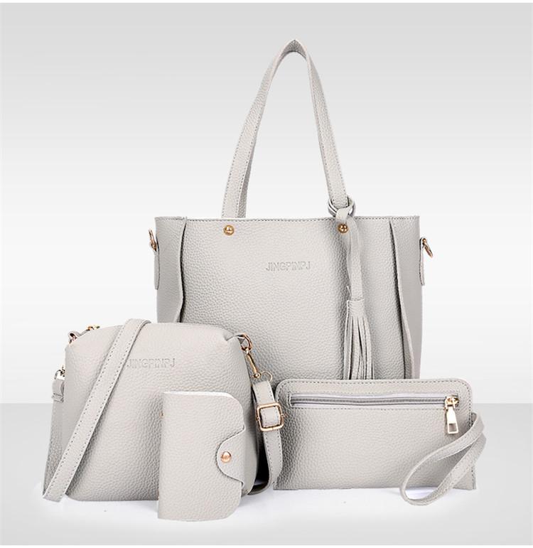 07568cc9ece8 Трендовая женская сумка JingPin 4 в 1 Серая (сумка + клатч + кошелёк  косметичка +