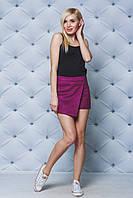 Шорты юбка с завышенной талией фиолет, фото 1