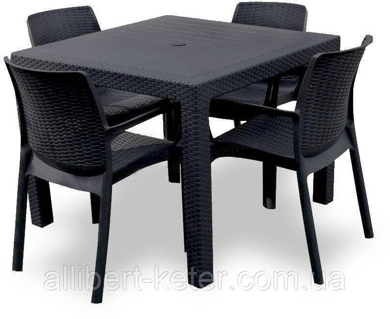 Комплект садових меблів BALI MONO - MELODY QUARTET (4+1) графіт (Keter)