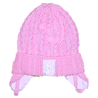Детская вязаная шапочка на завязках, ТМ Мамина мода, р. 36, 38, 40, 42, Украина Хлопок, Мамина мода, 40 см., Весна/осень, 80% акрил, 20% хлопок,