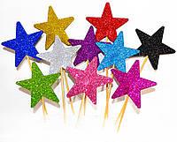 ТОППЕР на палочке ЗВЕЗДОЧКА 7СМ Звезда Глиттер Микс Цветов Блестящая Топперы для Торта Топер на капкейки декор