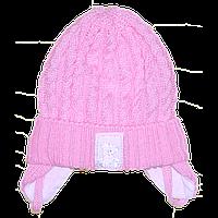 Детская вязаная шапочка на завязках, ТМ Мамина мода, р. 36, 38, 40, 42, Украина Хлопок, Мамина мода, 38 см., Весна/осень, 80% акрил, 20% хлопок,