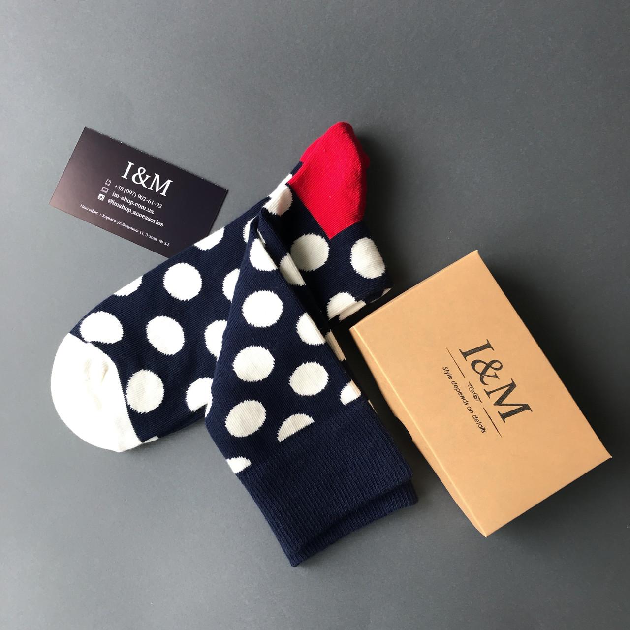 Носки I&M Craft темно-синие в белый горох (070215)