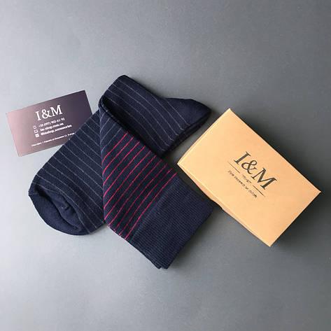 Носки I&M Craft темно-синие с серой и красной полоской (070217), фото 2