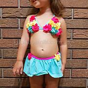 Купальник детский раздельный бирюзовый -161-03