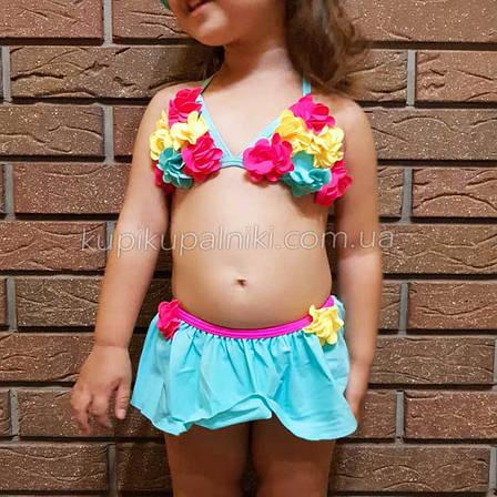 Купальник детский раздельный бирюзовый -161-03, фото 2