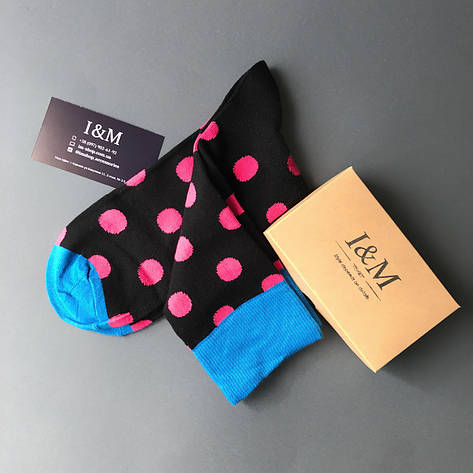 Шкарпетки I&M Craft чорні в рожевий горох (070221), фото 2