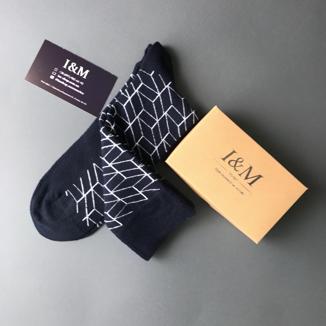 Носки I&M Craft темно-синие с белым принтом  (070222)