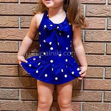 Купальник детский слитный синий в белый горошек -161-01, фото 2