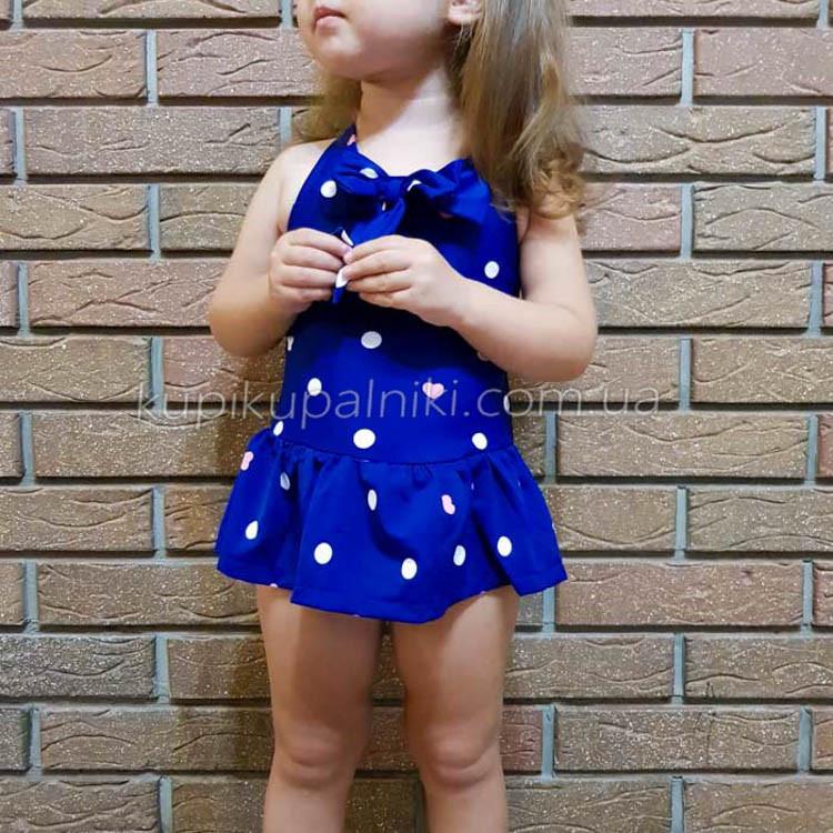 Купальник детский слитный синий в белый горошек -161-01