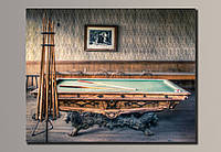 """Бильярдный стол"" Картина на холсте для интерьера"
