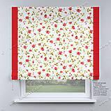 Римська фото штора біла червоні квіточки з червоним кантом, фото 2