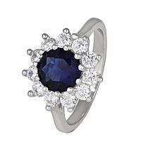 Серебряное кольцо с синим фианитом Мишель 18.5 000025478