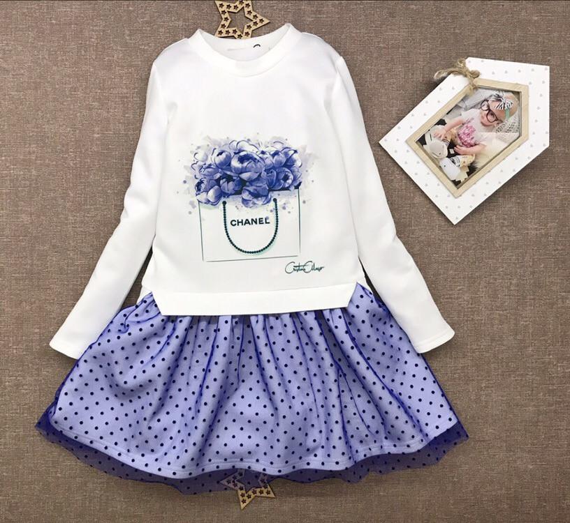 Платье с фатиновой юбкой для девочек
