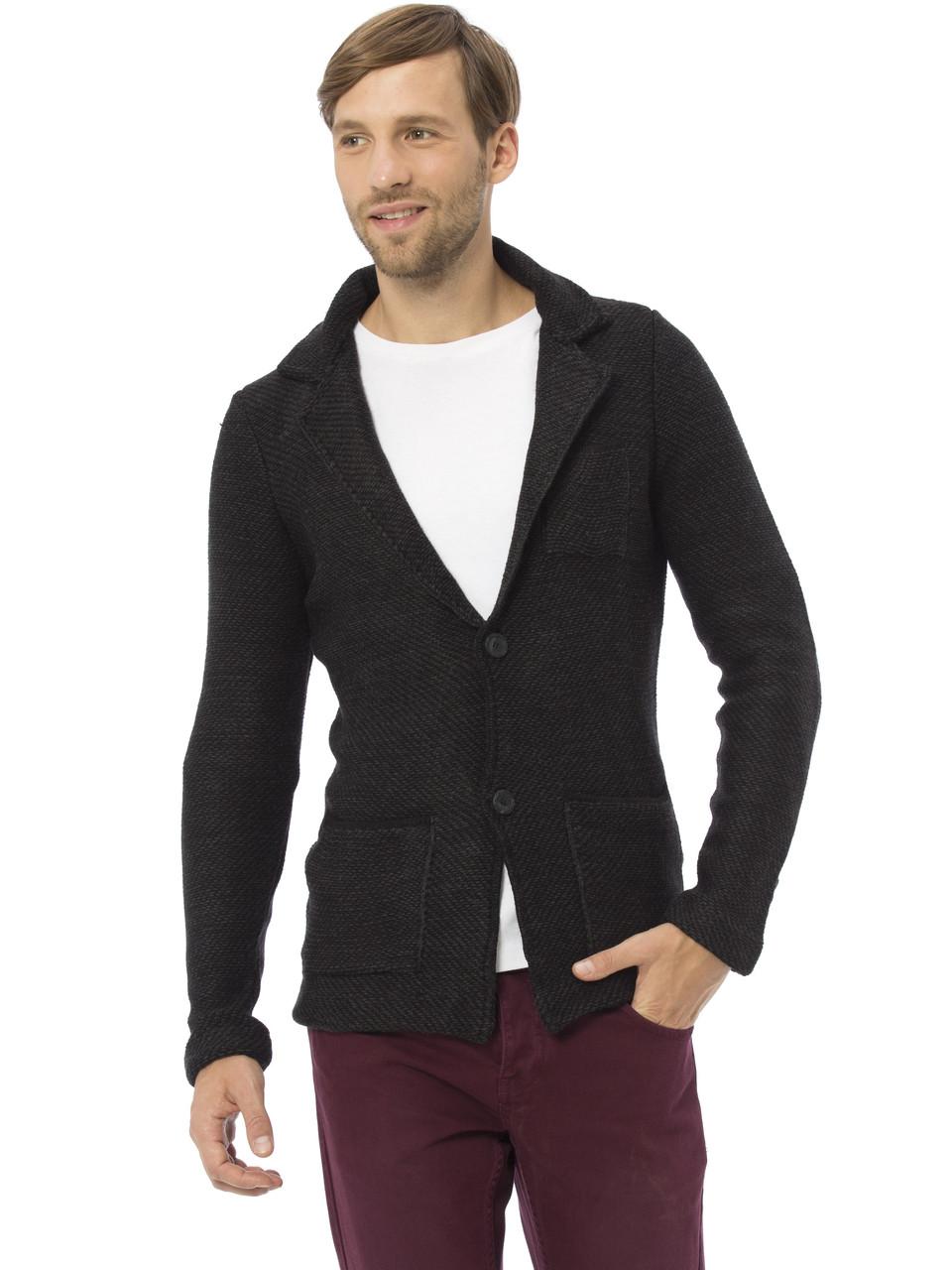 Черный мужской пиджак LC Waikiki / ЛС Вайкики с латками и карманами