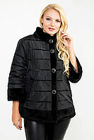 Шикарная черная женская демисезонная куртка  Ml-104 размеры 48-54