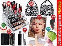 8пр. Акриловый органайзер для косметики Cosmetic Storage Box в наборе (зеркало с подсветкой, расческа и д.р)