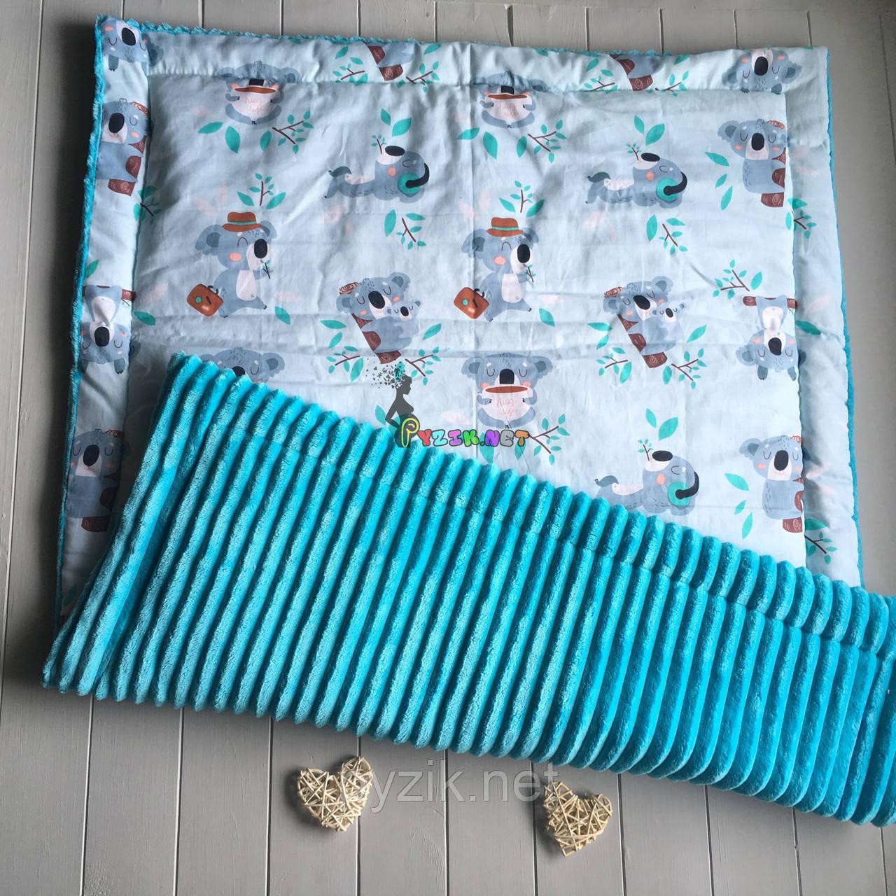 Плюшевый плед Minky с хлопковой подкладкой, бирюзовый