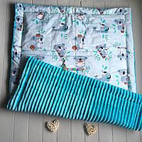 Плюшевый плед Minky с хлопковой подкладкой, бирюзовый, фото 1