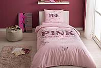 Двуспальное евро постельное белье TAC Pink Ранфорс / простынь на резинке