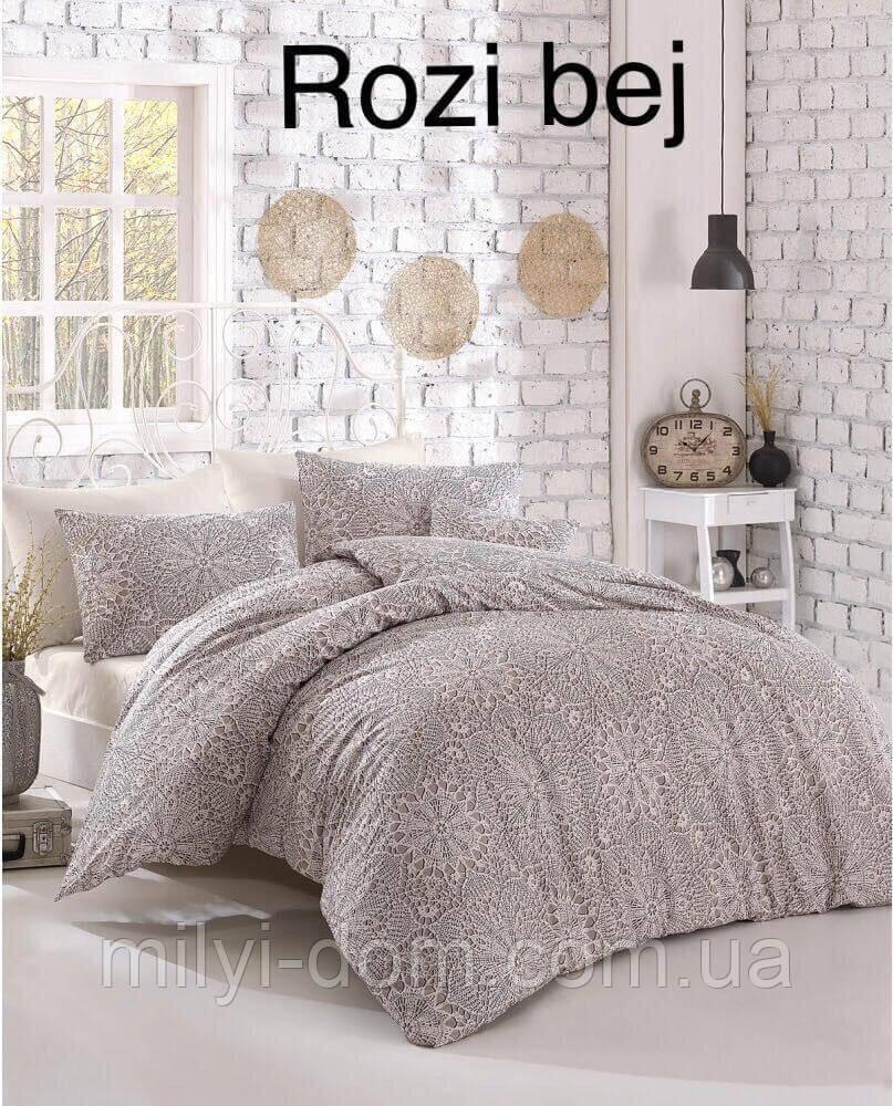 Двуспальное евро постельное белье Altinbasak Rozi bej Ранфорс