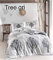 Двуспальное евро постельное белье Altinbasak Tree gri Ранфорс