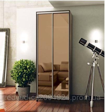 Шкаф-купе двухдверный 900*450*2400 , фасад зеркало бронза, фото 2
