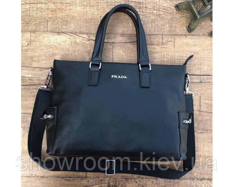 Мужская горизонтальная кожаная сумка в стиле Prada (9027) leather De Lux