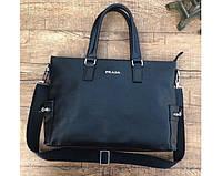 Мужская горизонтальная кожаная сумка в стиле Prada (9027) leather De Lux, фото 1