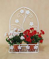 Подвесная подставка для цветов кованая Мальва 02 средняя белая , фото 1