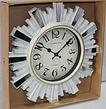 Часы настенные, диаметр 31 см, белые с зеркальными вставками, фото 2