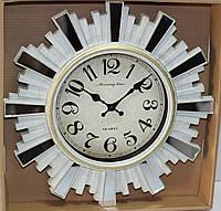 Часы настенные, диаметр 31 см, белые с зеркальными вставками, фото 1